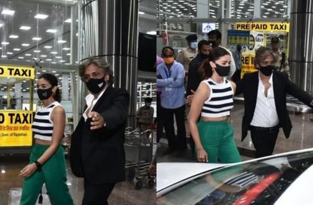 alia bhatt looks stylish as she arrives at jaipur airport