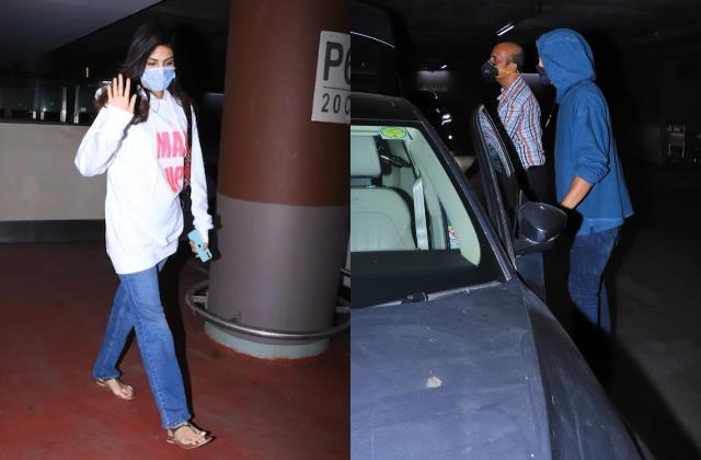 rhea chakraborty arriving at the airport with her father and brother showik