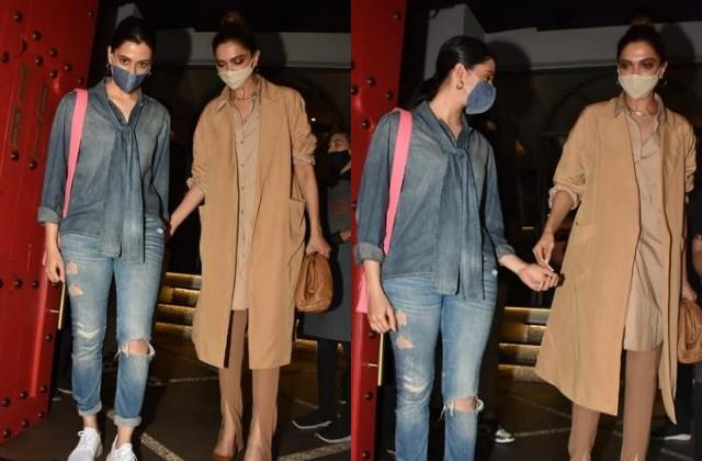 deepika padukone spotted outside the restaurant with sister anisha