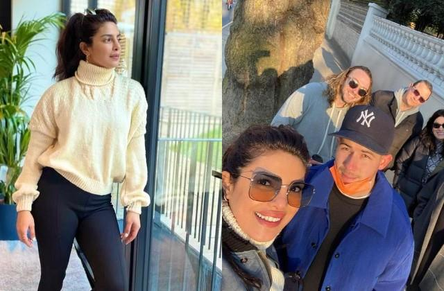priyanka chopra poses in sweater knitted by her mom madhu chopra