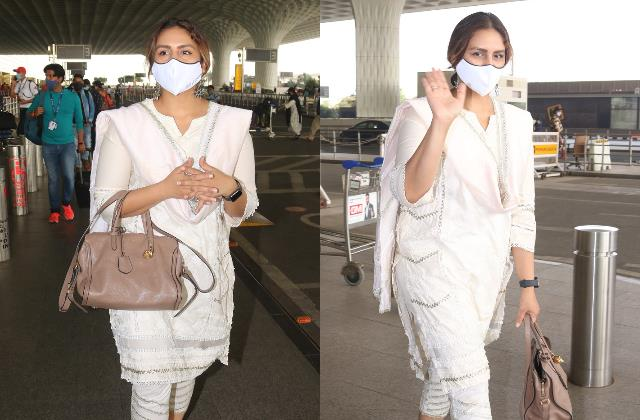 huma qureshi looks stunning as she spotted at mumbai airport
