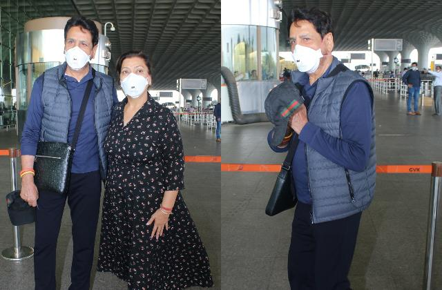 gurdas maan spotted with wife manjeet maan at mumbai airport
