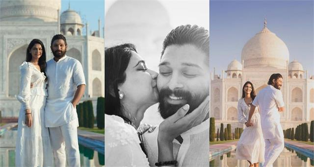 allu arjun sneha reddy gave romantic pose at front of taj mahal