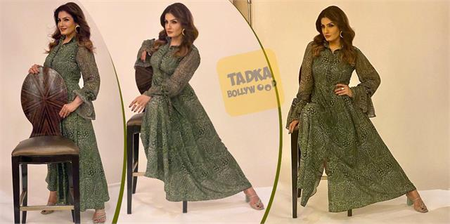 raveena tandon looks stunning in green gown dress