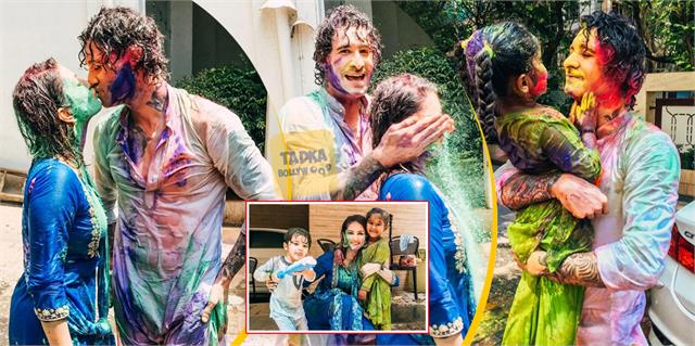 sunny leone holi celebrations with family actress gives kiss hubby daniel