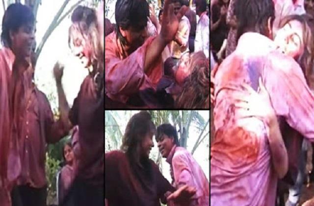 shahrukh khan gauri khan and chunky pandey old holi video viral