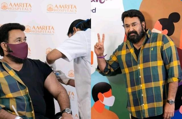 south actor mohanlal took dose of corona vaccine