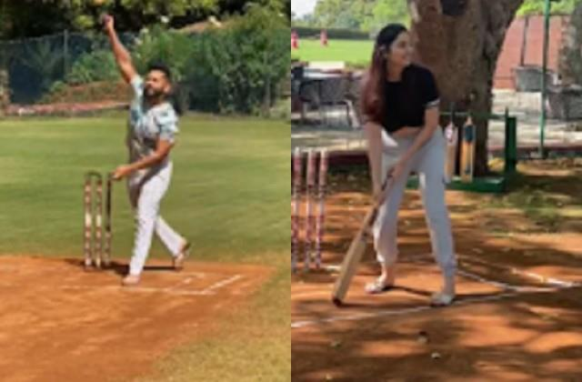 rahul vaidya playing cricket with girlfriend disha parmar video viral