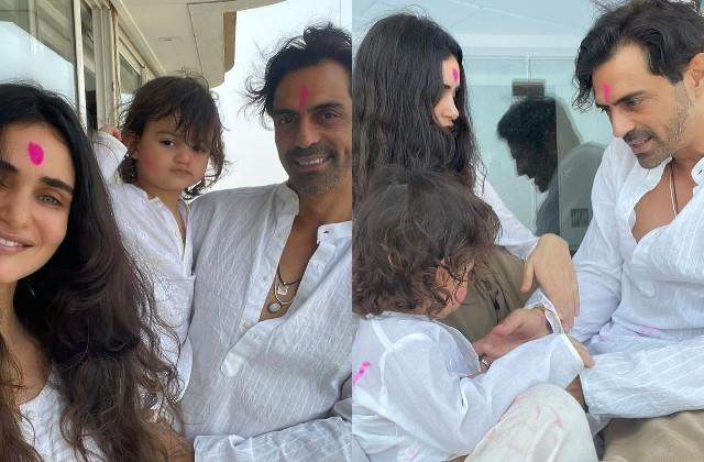 arjun rampal celebrates holi girlfriend gabriella and son