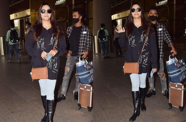 sapna chaudhary looked stylish at the airport