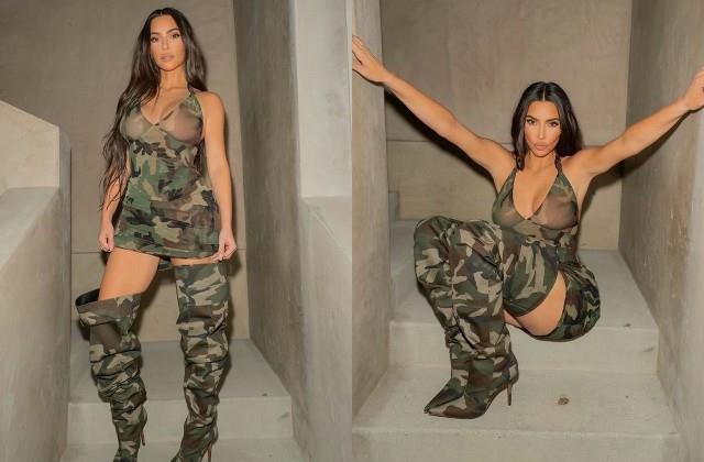 kim kardashian shares photos in military look
