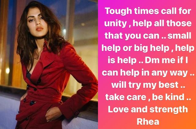 rhea chakraborty offer helps to the needy people during coronavirus second wave