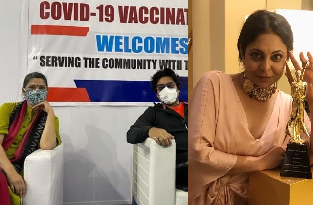 renuka shahane ashutosh rana shefali shah receive first dose of covid19 vaccine