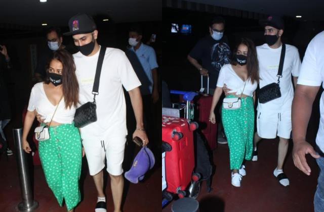 neha kakkar spotted at airport with hubby rohanpreet singh