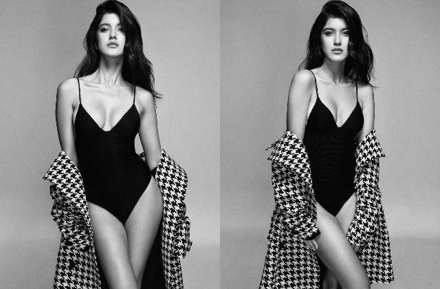 shanaya kapoor shares her bold photos in black swimsuit