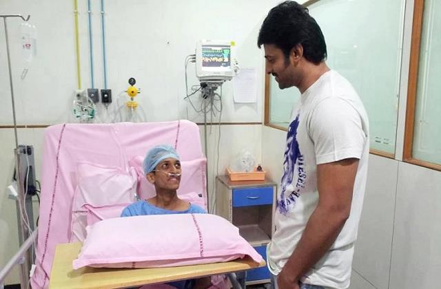 prabhas left shoot and rushed hospital meet fan who is fighting with cancer