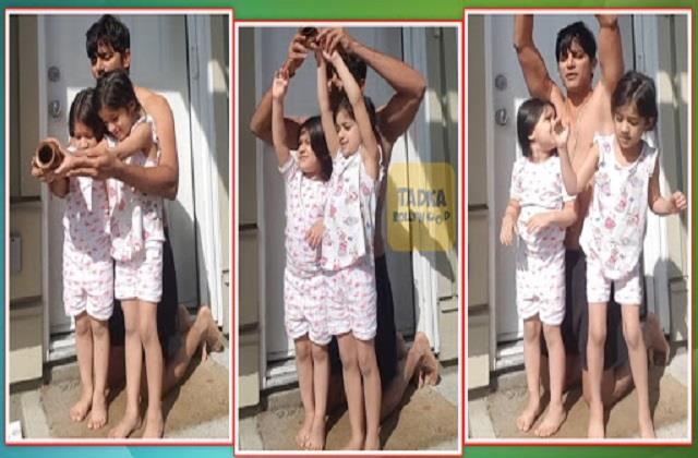 karanvir bohra teaches twin daughters bella and vienna surya namaskar