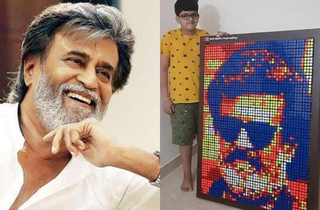 fan artwork won superstar rajinikanth heart