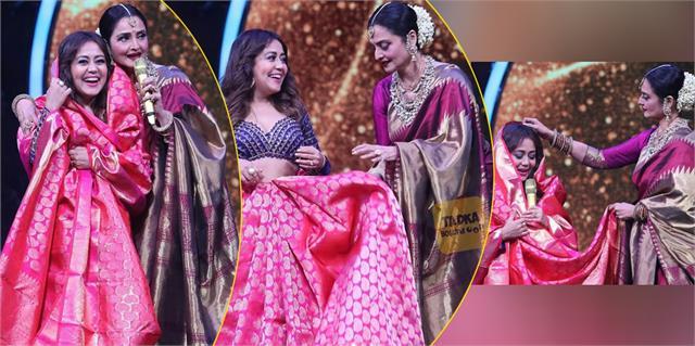 actress rekha gifted kanjivaram saree to neha kakkar as wedding gift