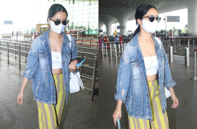 shraddha kapoor looks cool in tube top and striped pants