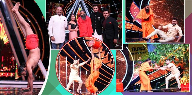 yog guru baba ramdev at indian idol 12 set