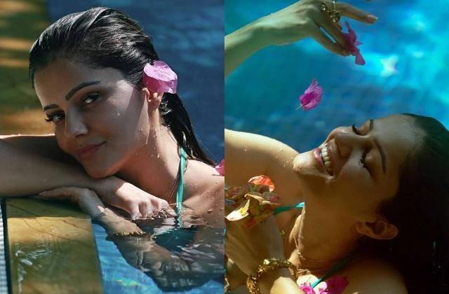 rubina dilaik shares her pool photos clicked by husband abhinav shukla