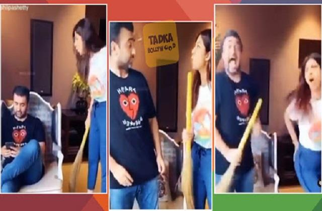 raj kundra shared funny video of housework with wife shilpa shetty