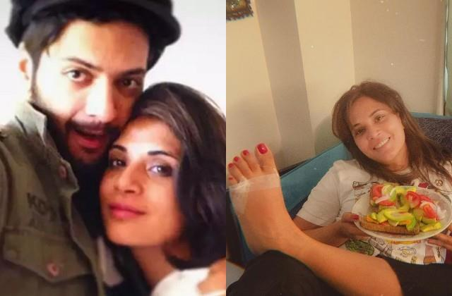 richa chadda got foot fracture  boyfriend ali fazal taking care