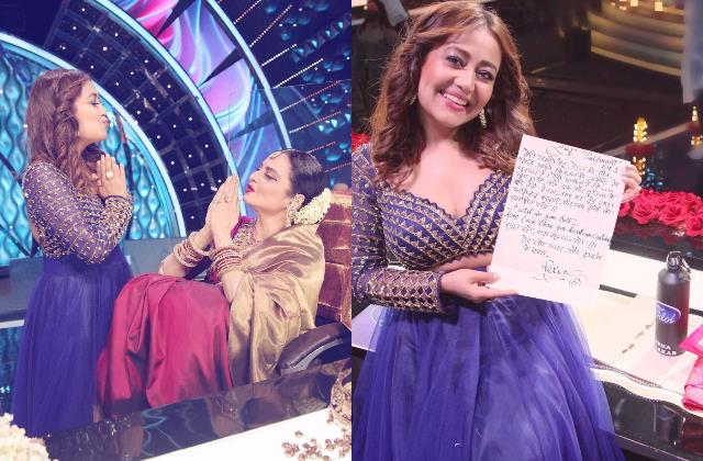 rekha gave handwritten letter to neha kakkar and rohanpreet singh