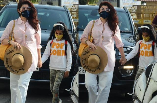 twinkle khanna spotted in getaway of india with nitara