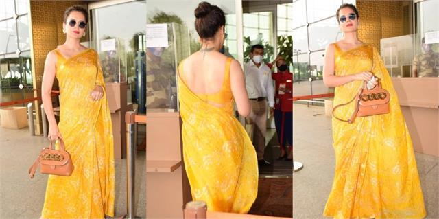 kangana ranaut looks stunning in yellow saree
