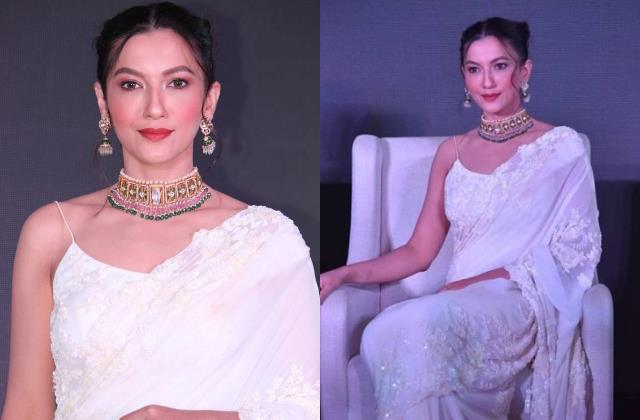 gauhar khan looks beautiful in white chikankari saree