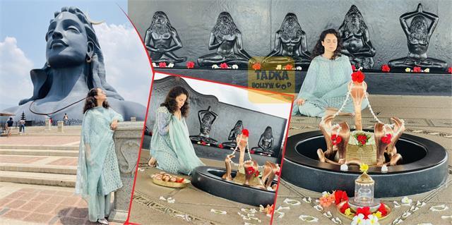 kangana ranaut visits sadhguru ashram and prayers lord shiva