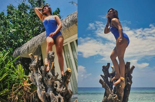 aarti singh looks hot in blue monokini