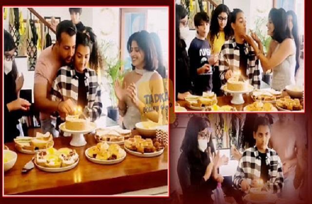 dia celebrates hubby vaibhav and his ex wife sunaina daughter samaira birthday