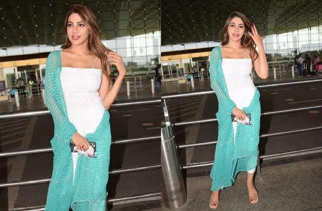 nikki tamboli stylish entry at the airport