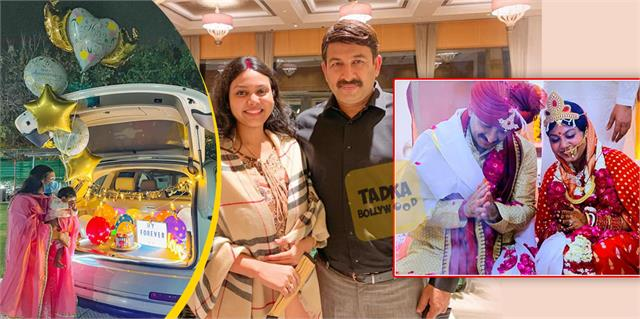 manoj tiwari 2nd wife shares beautiful moments on first wedding anniversary