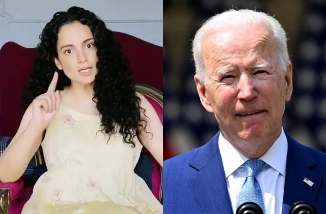 kangana angry at joe biden for not giving india raw material for vaccine