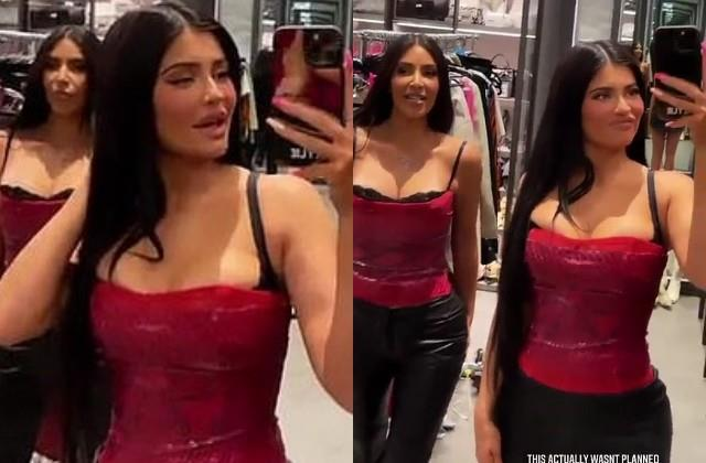 kylie jenner and kim kardashian looked glamorous in same outfit
