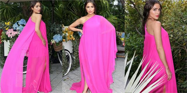 olivia culpo looks gorgeous in pink dress