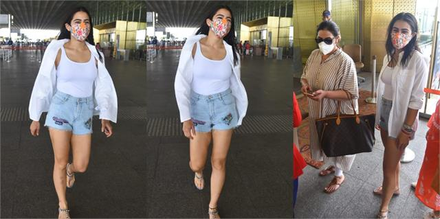 sara ali khan spotted at airport with mother amrita singh