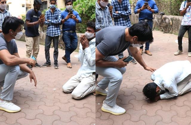 sonu sood helped young man get job person touch actor feet