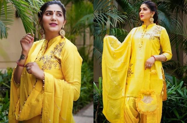 sapna choudhary shares photos in yellow suit