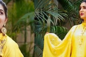 sapna choudhary shares photos in yellow suit