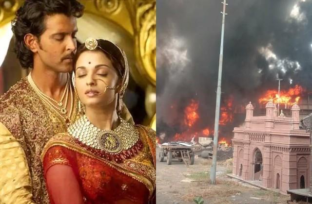 fire on nd studio hrithik roshan aishwarya rai jodhaa akbar set destroyed