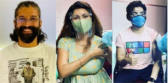gurmeet choudhary debina bonnerjee and farhan akhtar got corona vaccine