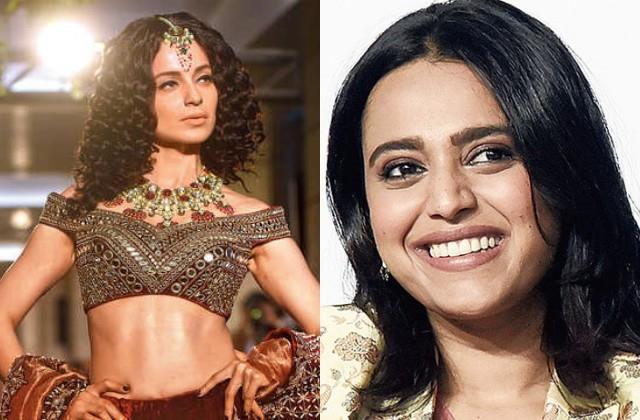 swara bhaskar happy after designers decision to banning kangana