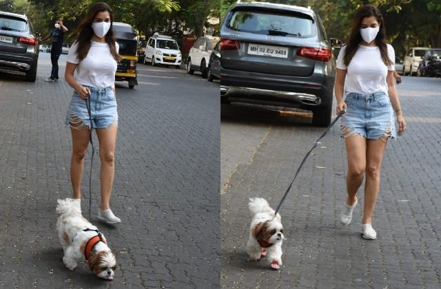 sophie choudry spotted walking with dog in bandra