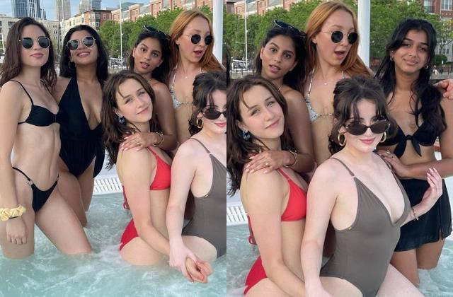 shahrukh khan daughter suhana khan enjoy pool party with friends