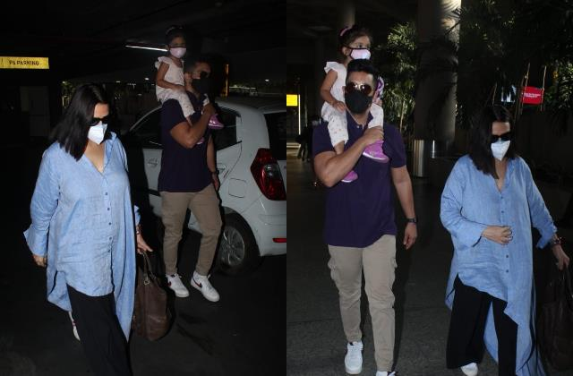 angad bedi spotted at airport with wife neha dhupia and daughter mehr